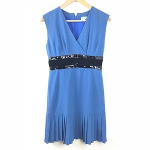 Tracy Reese Dress V Neck Patent Leather Blue 2